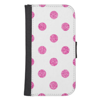 Elegant Hot Pink Glitter Polka Dots Pattern Samsung S4 Wallet Case