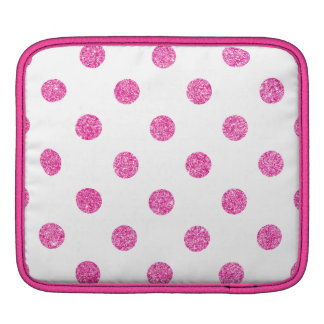 Elegant Hot Pink Glitter Polka Dots Pattern Sleeves For iPads