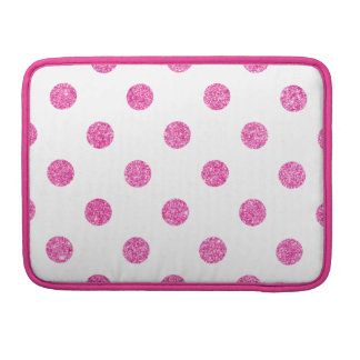 Elegant Hot Pink Glitter Polka Dots Pattern Sleeves For MacBook Pro