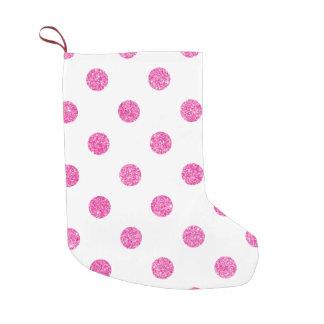 Elegant Hot Pink Glitter Polka Dots Pattern Small Christmas Stocking