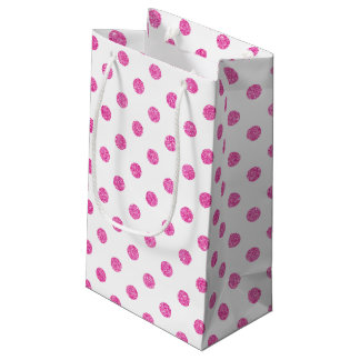 Elegant Hot Pink Glitter Polka Dots Pattern Small Gift Bag