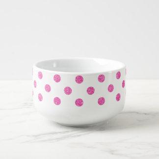 Elegant Hot Pink Glitter Polka Dots Pattern Soup Mug