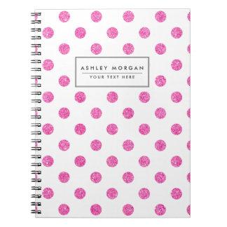 Elegant Hot Pink Glitter Polka Dots Pattern Spiral Notebook