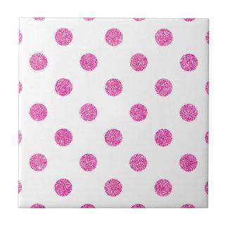 Elegant Hot Pink Glitter Polka Dots Pattern Tile