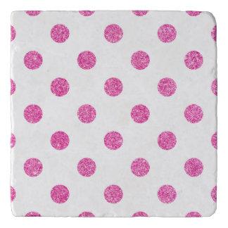 Elegant Hot Pink Glitter Polka Dots Pattern Trivet