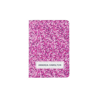 Elegant hot pink glitter sparkling add your name passport holder