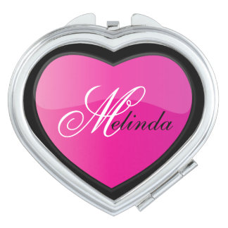 Elegant Hot Pink Heart | Personalize Compact Mirrors