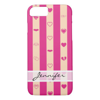 Elegant Hot Pink Stripes Modern Heart Pattern iPhone 8/7 Case
