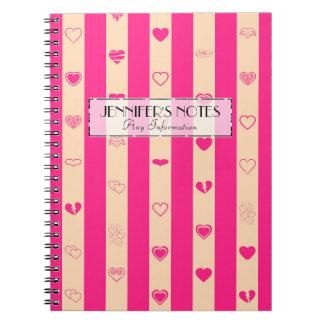 Elegant Hot Pink Stripes Modern Heart Pattern Notebooks