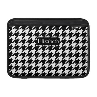 Elegant Houndstooth Black and White with Name MacBook Sleeve