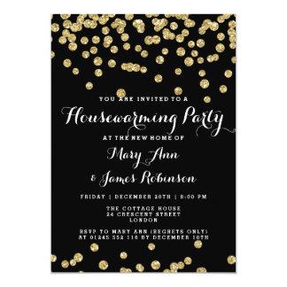 Elegant Housewarming Party Gold Glitter Confetti Card