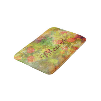 Elegant Humbled & Blessed Floral Watercolor Bath Mat