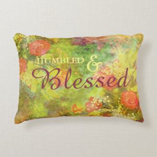 Elegant Humbled & Blessed Floral Watercolor Decorative Pillow