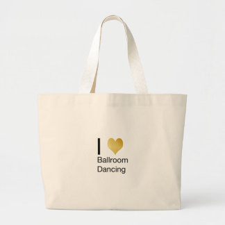 Elegant I Heart Ballroom Dancing Large Tote Bag