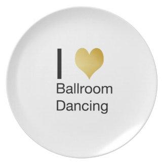 Elegant I Heart Ballroom Dancing Party Plate