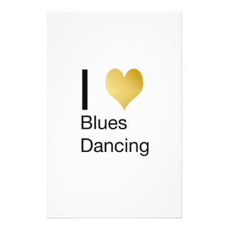 Elegant I Heart Blues Dancing Customized Stationery