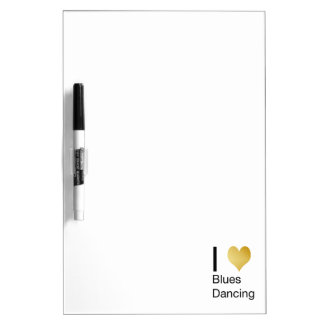 Elegant I Heart Blues Dancing Dry Erase Board