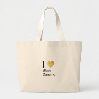 Elegant I Heart Blues Dancing Large Tote Bag
