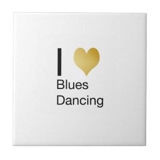 Elegant I Heart Blues Dancing Tile