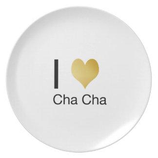 Elegant I Heart Cha Cha Plates
