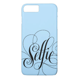 Elegant Ice Blue Black 'Selfie' Lettering Trendy iPhone 7 Plus Case