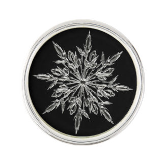 Elegant Ice Crystals Pattern on Black Lapel Pin
