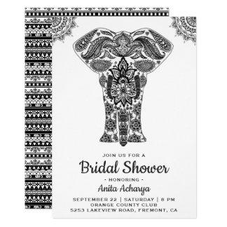 Elegant Indian Henna Elephant Bridal Shower Invite