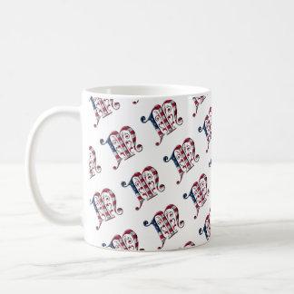 Elegant Initial M American Flag Pattern Monogram Coffee Mug