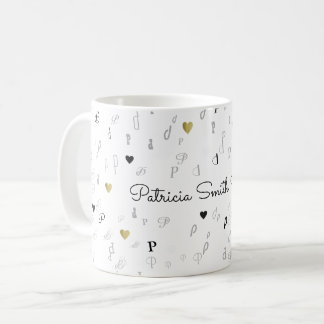 elegant initials & name typography love coffee mug