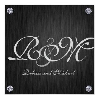 Elegant Initials with Diamonds Wedding Invites