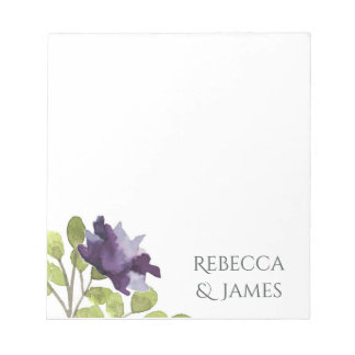 ELEGANT INK BLUE WATERCOLOUR FLORAL Personalised Notepads