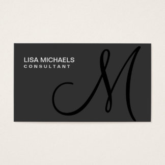 Elegant Interior Decorator Monogram Professional Business Card