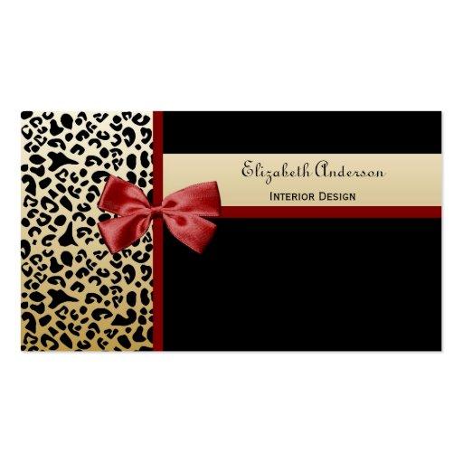 Elegant Interior Design Black and Gold Leopard Business Cards