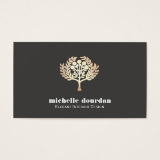 Elegant Interior Design Faux Gold Leaf Tree Business Card