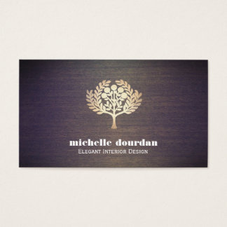 Elegant Interior Designer Faux Gold Leaf Tree Wood Business Card