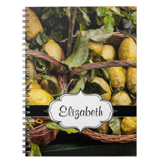 Elegant Italian Lemons in a Basket Spiral Notebook