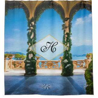 Elegant Italy Photo Blue Green Gold Monogram