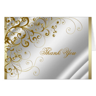 Elegant Ivory and Gold Swirls Thank You Note Card