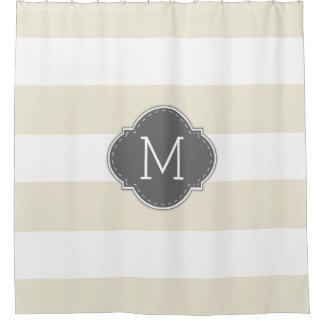 Elegant Ivory and White Stripes with Monogram