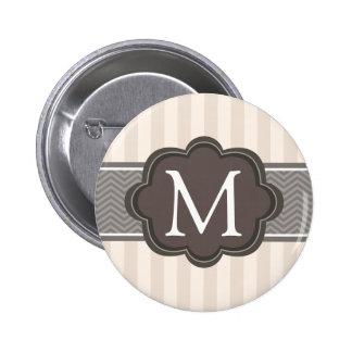 Elegant Ivory Beige Stripes Brown Custom Monogram 2 Inch Round Button