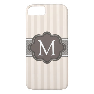 Elegant Ivory Beige Stripes Brown Custom Monogram iPhone 7 Case