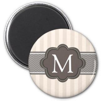 Elegant Ivory Beige Stripes Brown Custom Monogram Refrigerator Magnet
