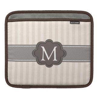 Elegant Ivory Beige Stripes Brown Custom Monogram Sleeve For iPads