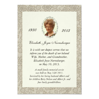 Elegant Ivory Damask Photo Death Announcement