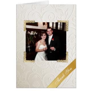 Elegant Ivory Damask Wedding Photo Thank You Note Card