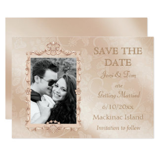 Elegant Ivory & Gold Photo Save the Date Card