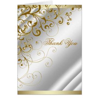 Elegant Ivory Gold Swirl Thank You Note Card