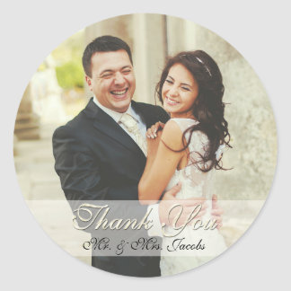Elegant Ivory Photo Wedding Thank You Stickers