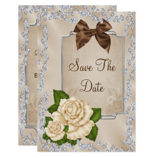 Elegant Ivory Roses & Bows 100th Save The Date Card