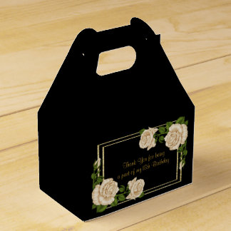 Elegant Ivory Roses & Gold Glitter 18th Birthday Favor Box